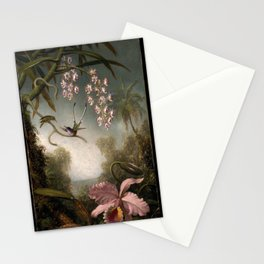 Orchids And Spray Orchids With Hummingbird 1890 By Martin Johnson Heade | Reproduction Stationery Cards