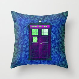 Tardis With Abstract Throw Pillow