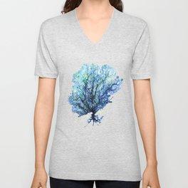 Fan Coral - Aqua Unisex V-Neck