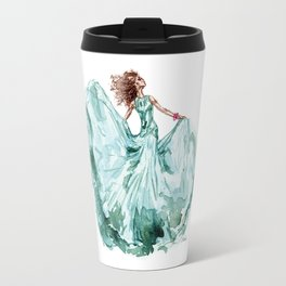 Fashion Blue Turquoise Teal Dress Girl Travel Mug
