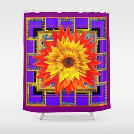 Golden-Red Sunflowers Purple Abstract Design  Shower Curtain