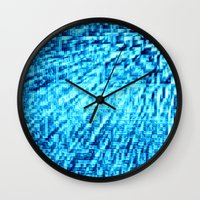 turquoise Wall Clocks featuring TURquoise Pixel Wind by 2sweet4words Designs