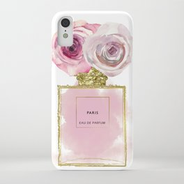 Pink & Gold Floral Fashion Perfume Bottle iPhone Case