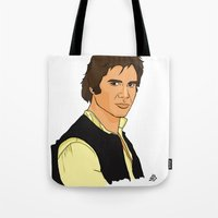 han solo Tote Bags featuring Han Solo by Bleachydrew