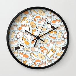 Corgilicious Corgi Doodle Wall Clock