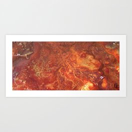 Mars mixed media on canvas, Abstract designs and contemporary artwork, close up photograph Art Print