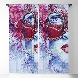 Femme Fatale, Venetian Carnival Masque for Carnival Masquerade female portrait painting Blackout Curtain
