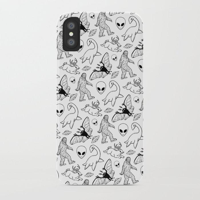 cryptid lineart pattern 2 (white) iphone case