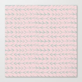Contemporary Pink and Mint Arrow Pattern Canvas Print