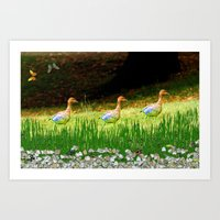 ducks Art Prints featuring Ducks by Raffaella315