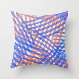 brush stroke overlap_blue,orange Throw Pillow