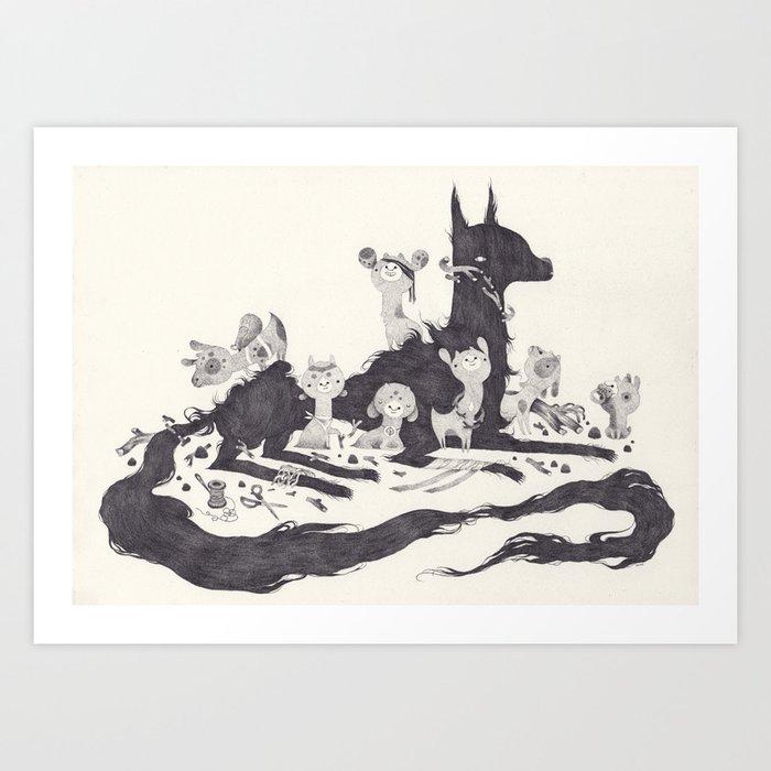 Le Loup et les Sept Chevreaux Art Print