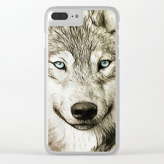 Smokey Sketched Wolf Clear iPhone Case