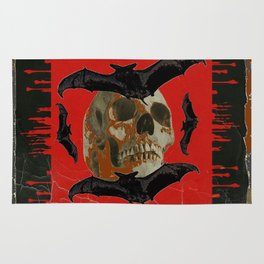 GRUNGY HALLOWEEN BAT INFESTED HAUNTED SKULL Rug