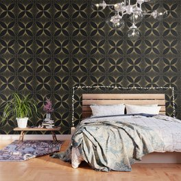 Diamond Series Floral Cross Gold on Charcoal Wallpaper