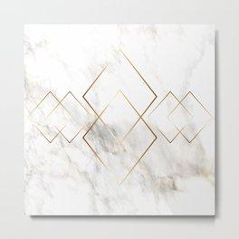 White Marble Gold Diamond Metal Print