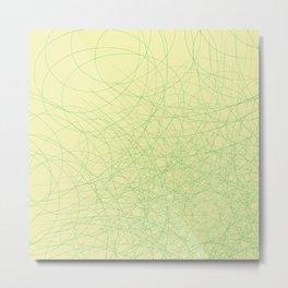 Green web. Green web on a yellow background Metal Print