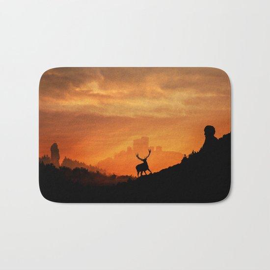 Deer in a mystical landscape Bath Mat