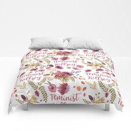 'Feminist Killjoy' cute floral print Comforters