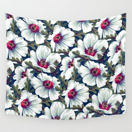 New Zealand Hibiscus Floral Print (Night) Wall Tapestry