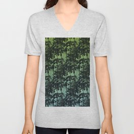 Leaf Shadows on Deck - green2turquoise Unisex V-Neck