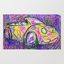 Expressive Bright Yellow V W Beetle created under the influence of Caffine by annmariescreations Rug