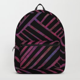 SAVANT black with bright pink and purple lines pattern Backpack