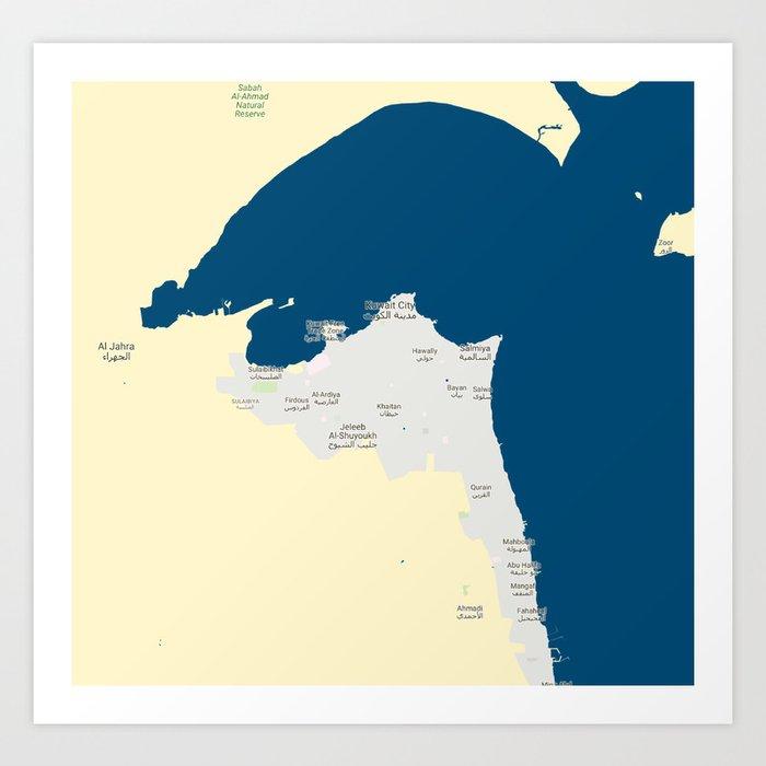 Minimalist Modern Map of kuwait City, Kuwait 7 Art Print