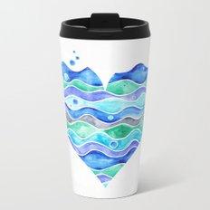 A Sea of Love (white) Metal Travel Mug