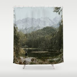 Mountain lake vibes II - Landscape Photography Shower Curtain