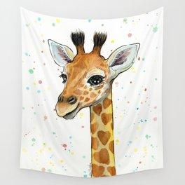 Baby-Giraffe-Nursery-Print-Watercolor-Animal-Portrait-Hearts Wall Tapestry