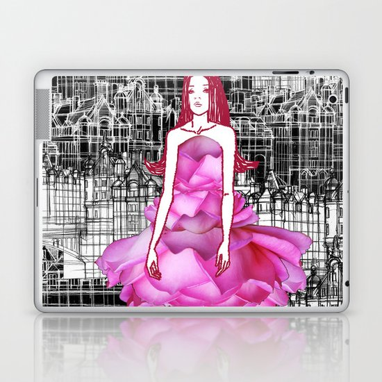 My rose dress fashion illustration concept. Laptop & iPad Skin