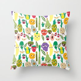 Fruit And Veggie Madness Throw Pillow