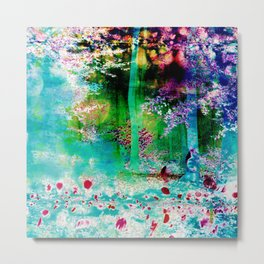 Neon Bubble Forest Metal Print