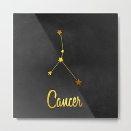 Cancer Zodiac Constellation in Gold Metal Print