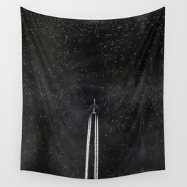 Star Flight - Airplane crossing a starry sky Wall Tapestry