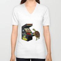 ninja turtle V-neck T-shirts featuring Arcade Ninja Turtle by Michowl