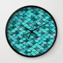 Mermaid Scales Turquoise Wall Clock