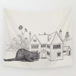 Johnny Crow's garden a picture book - L. Leslie Brooke - 1903 vintage Line Drawing Cat House Wall Tapestry