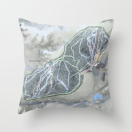 Snowy Range Resort Trail Map Throw Pillow