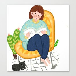 Reading Girl And Cat Canvas Print
