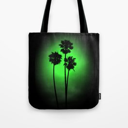 Palm Trees Green Glow Tote Bag