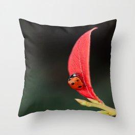 Ladybug On An Autumn Leaf Throw Pillow