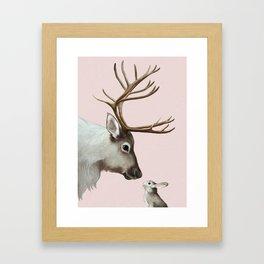 Reindeer and rabbit Framed Art Print