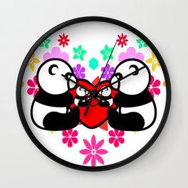cute couple panda since childhood Wall Clock