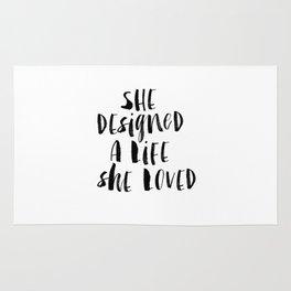 She Designed a Life She Loved  typography poster black-white design home decor bedroom wall art Rug