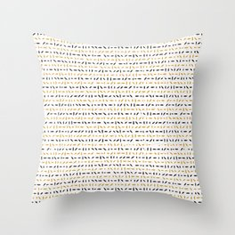 Yellow and Black Abstract Drawn Cryptic Lines Throw Pillow