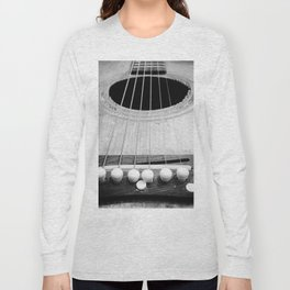 Wooden Acoustic Guitar in Black and White Long Sleeve T-shirt