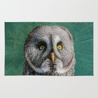 dave grohl Area & Throw Rugs featuring GREY OWL by Catspaws