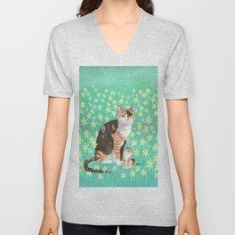 Tortieshell with her Kitten Unisex V-Neck